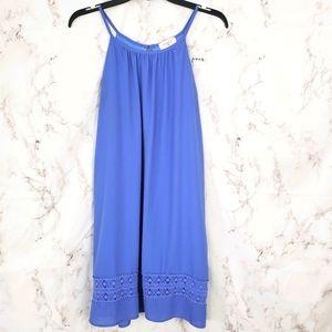 EVERLY Blue Sleeveless Dress Crochet Embelishments